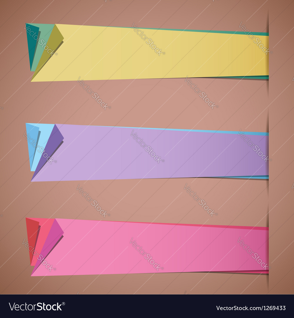 Folded paper blank colorful sticker templates vector | Price: 1 Credit (USD $1)