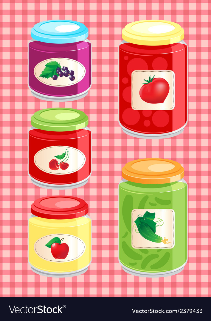 Jams and pickled vegetables vector | Price: 1 Credit (USD $1)