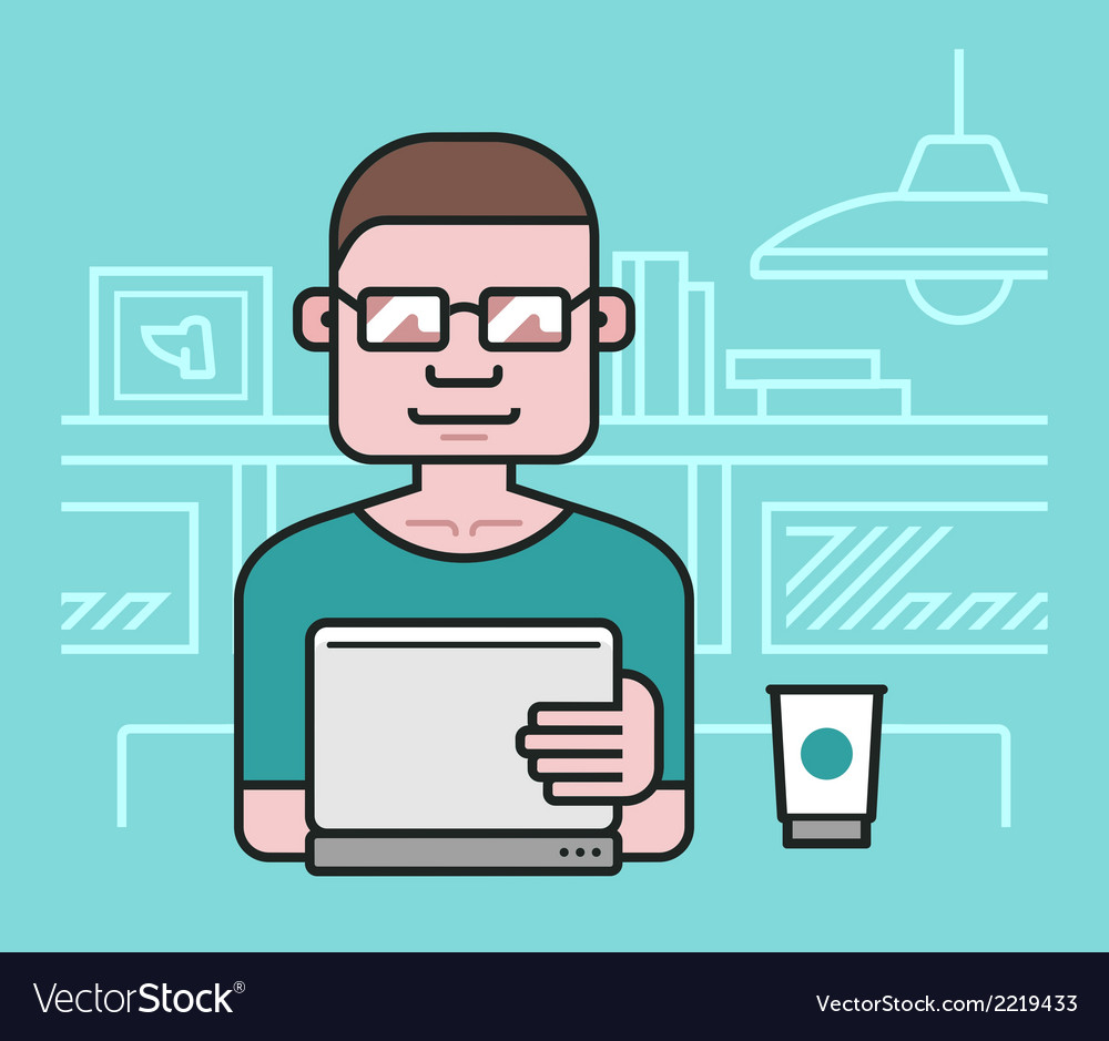 Man working at the laptop vector | Price: 1 Credit (USD $1)