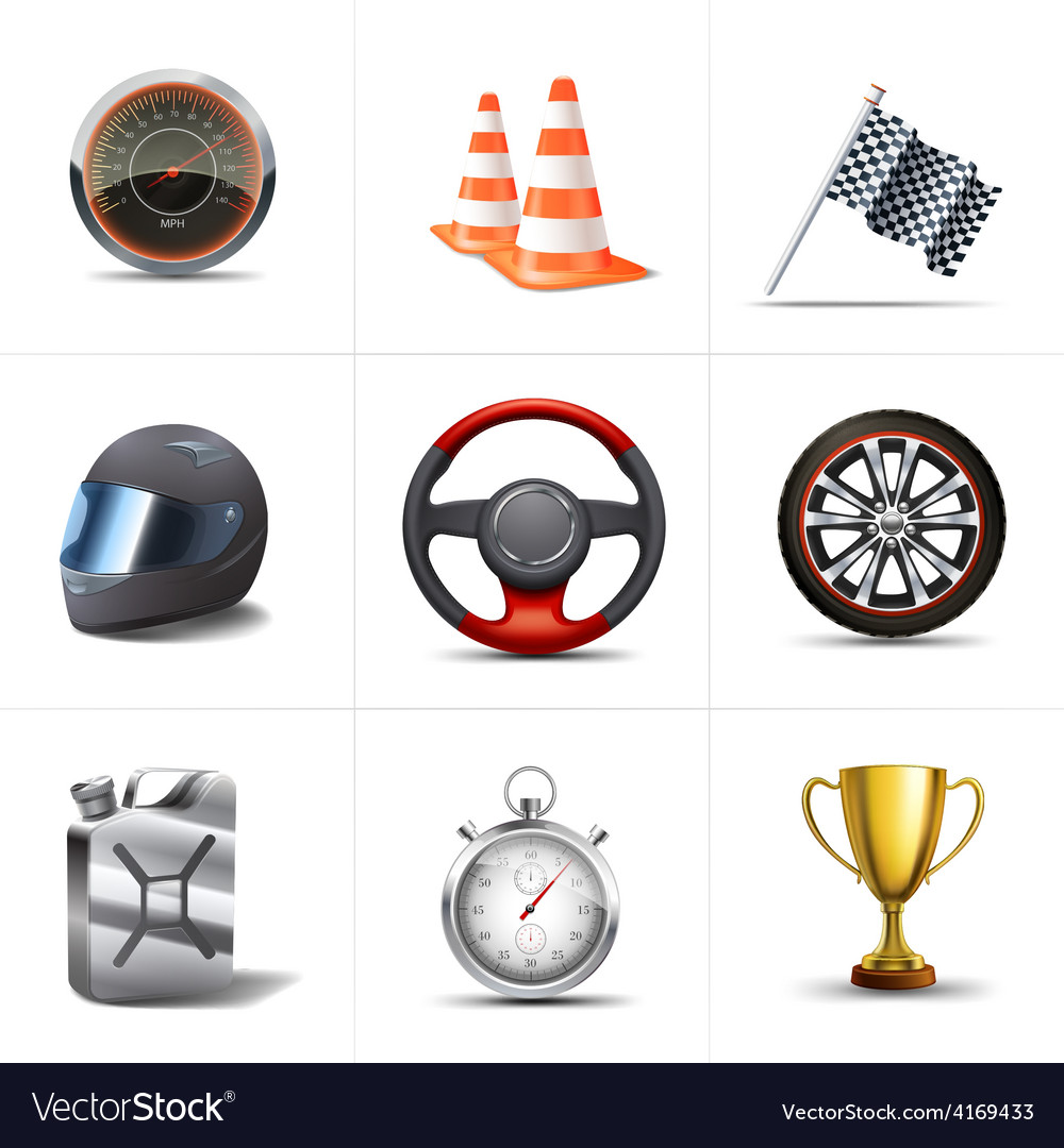 Racing icons set vector | Price: 3 Credit (USD $3)
