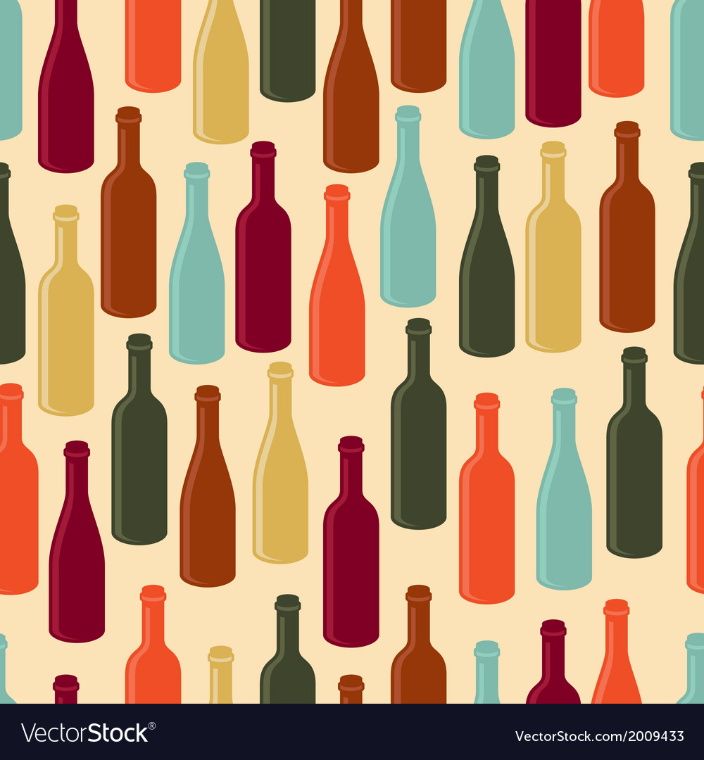 Seamless pattern with wine bottles vector | Price: 1 Credit (USD $1)