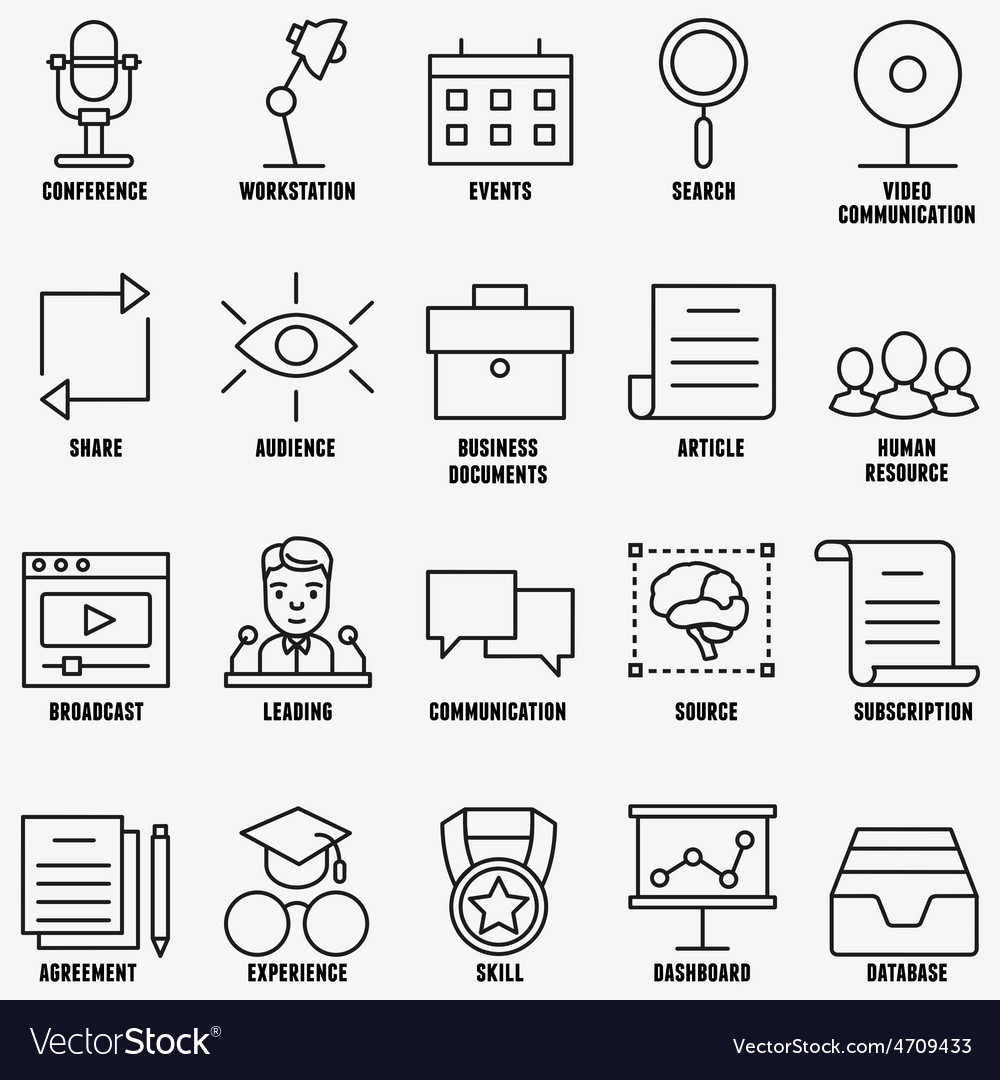 Set linear business education icons - part 1 vector | Price: 1 Credit (USD $1)