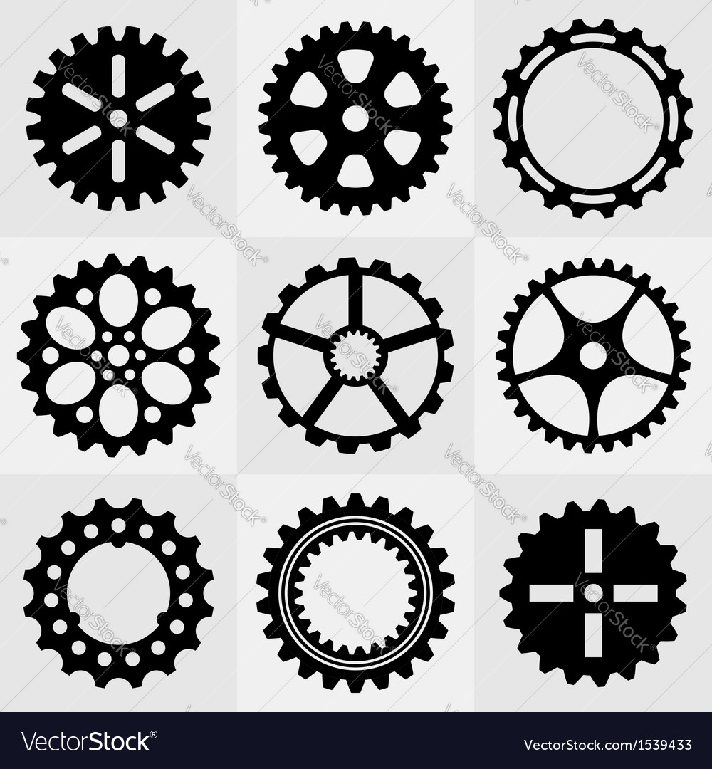 Set of gear wheels vector | Price: 1 Credit (USD $1)