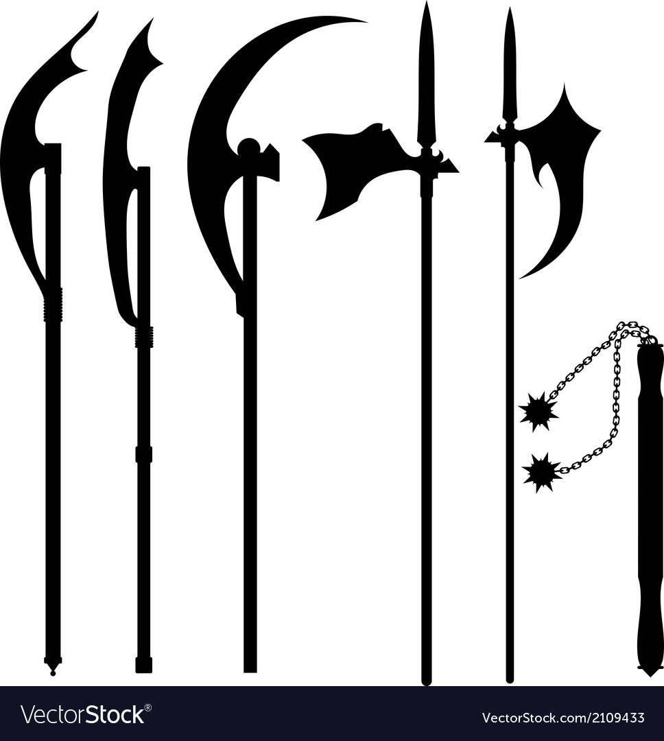 Set of silhouettes of halberds vector | Price: 1 Credit (USD $1)