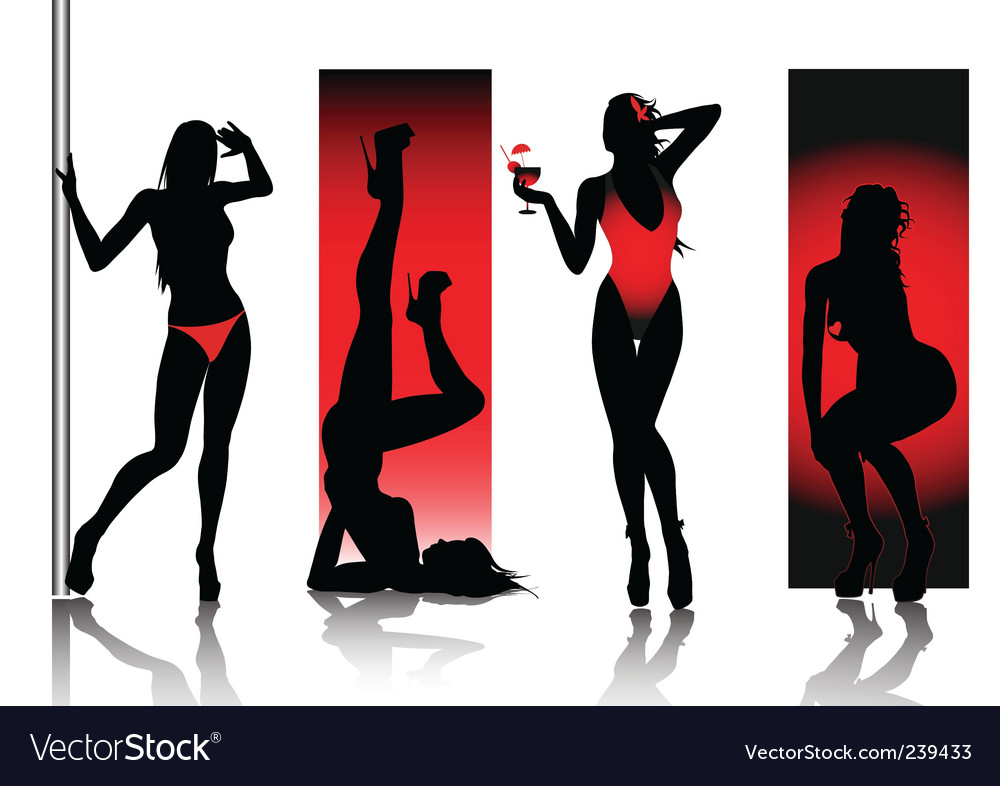 Sexy silhouettes in red vector | Price: 1 Credit (USD $1)