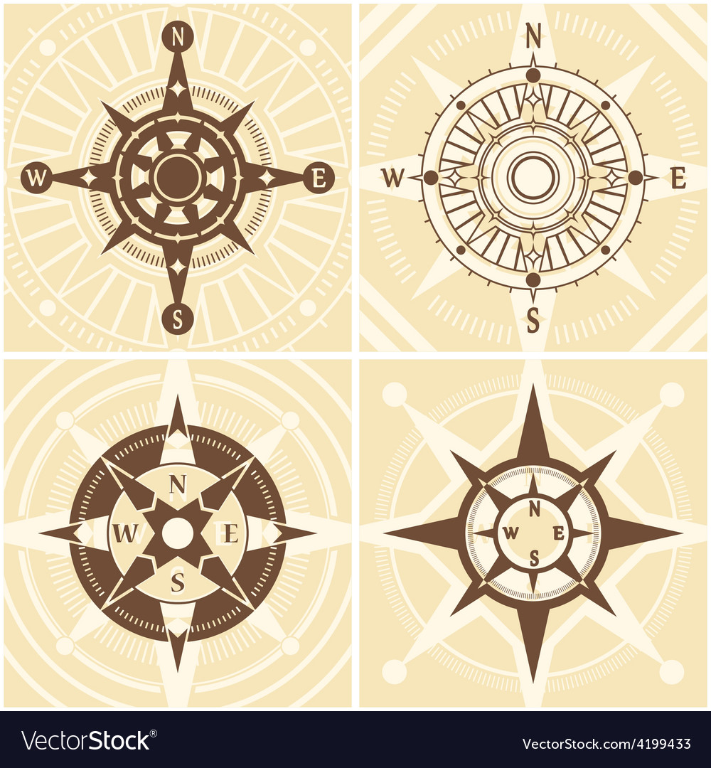 Vintage compass set vector | Price: 1 Credit (USD $1)