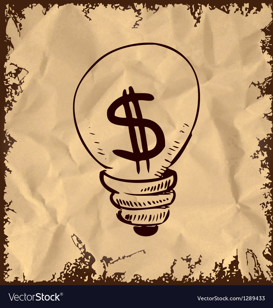 Vintage lightbulb with dollar symbol inside vector | Price: 1 Credit (USD $1)