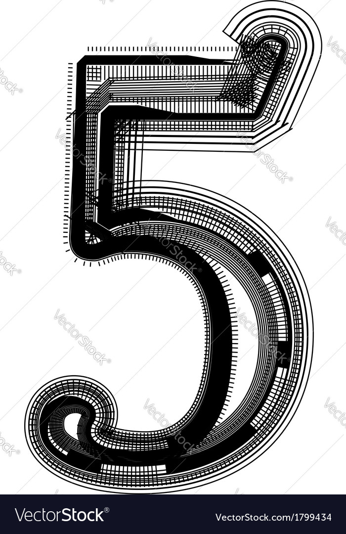 Abstract font number 5 vector | Price: 1 Credit (USD $1)