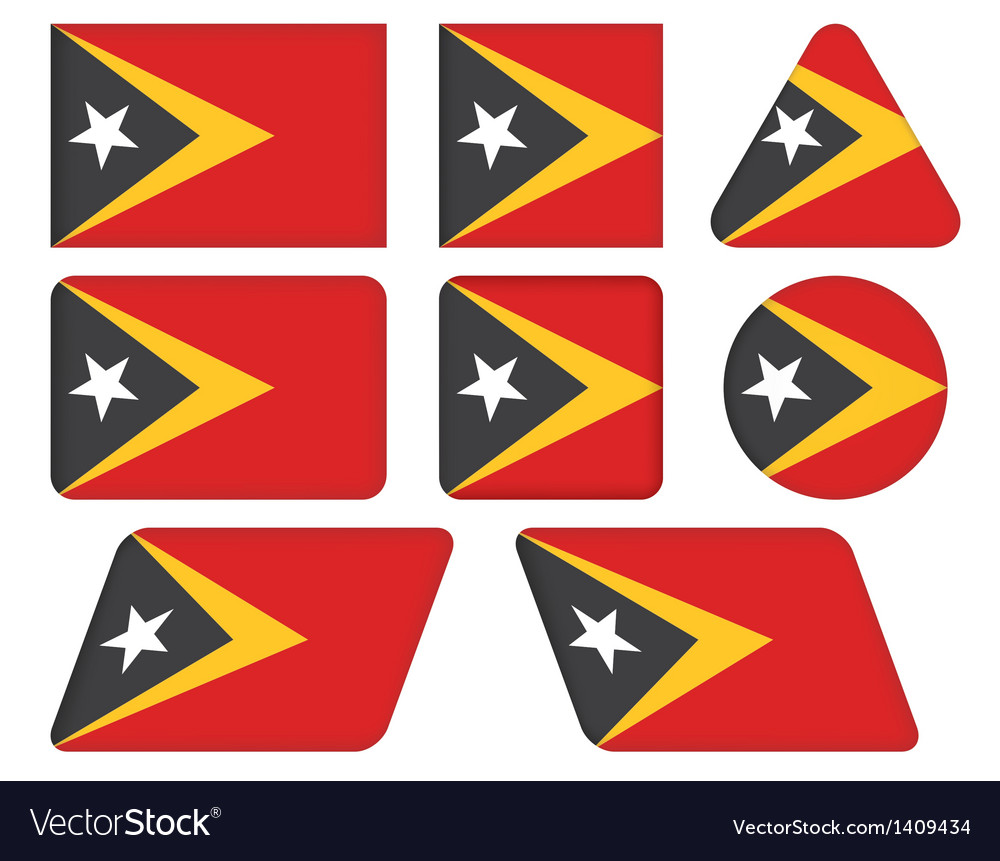 Buttons with flag of east timor vector | Price: 1 Credit (USD $1)