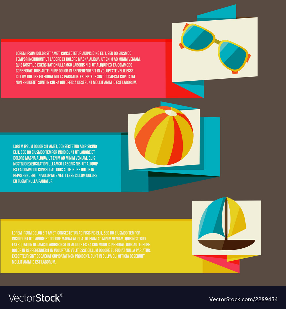 Collection of banners with summer design elements vector | Price: 1 Credit (USD $1)
