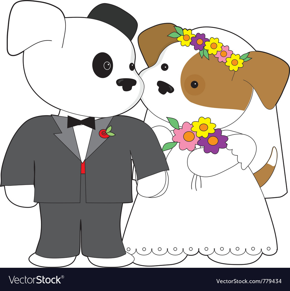 Cute puppy marriage vector | Price: 1 Credit (USD $1)