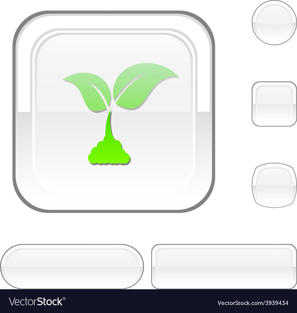 Ecology white button vector | Price: 1 Credit (USD $1)