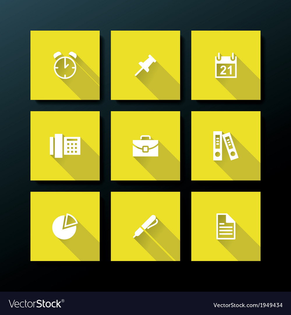 Flat office icon set vector | Price: 1 Credit (USD $1)