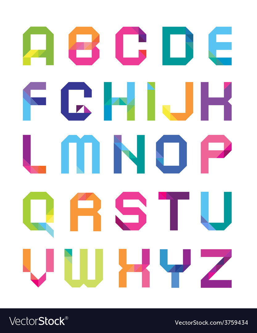 Geometrical font with color transitions vector | Price: 1 Credit (USD $1)