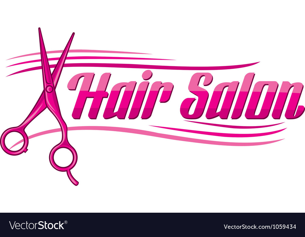 Hair salon design  haircut or hair salon symbol vector