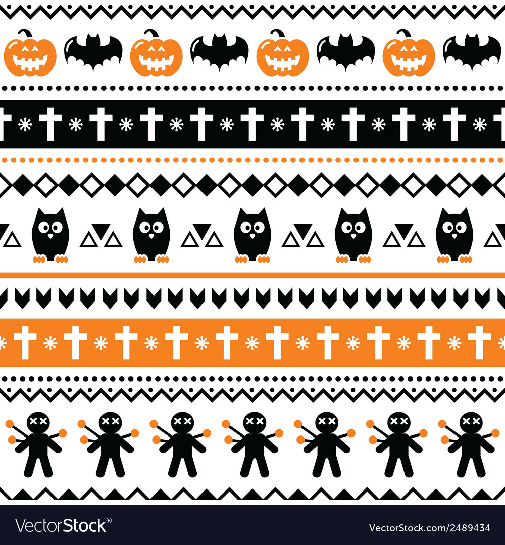 Halloween seamless pattern - pumpkin ghost vector | Price: 1 Credit (USD $1)