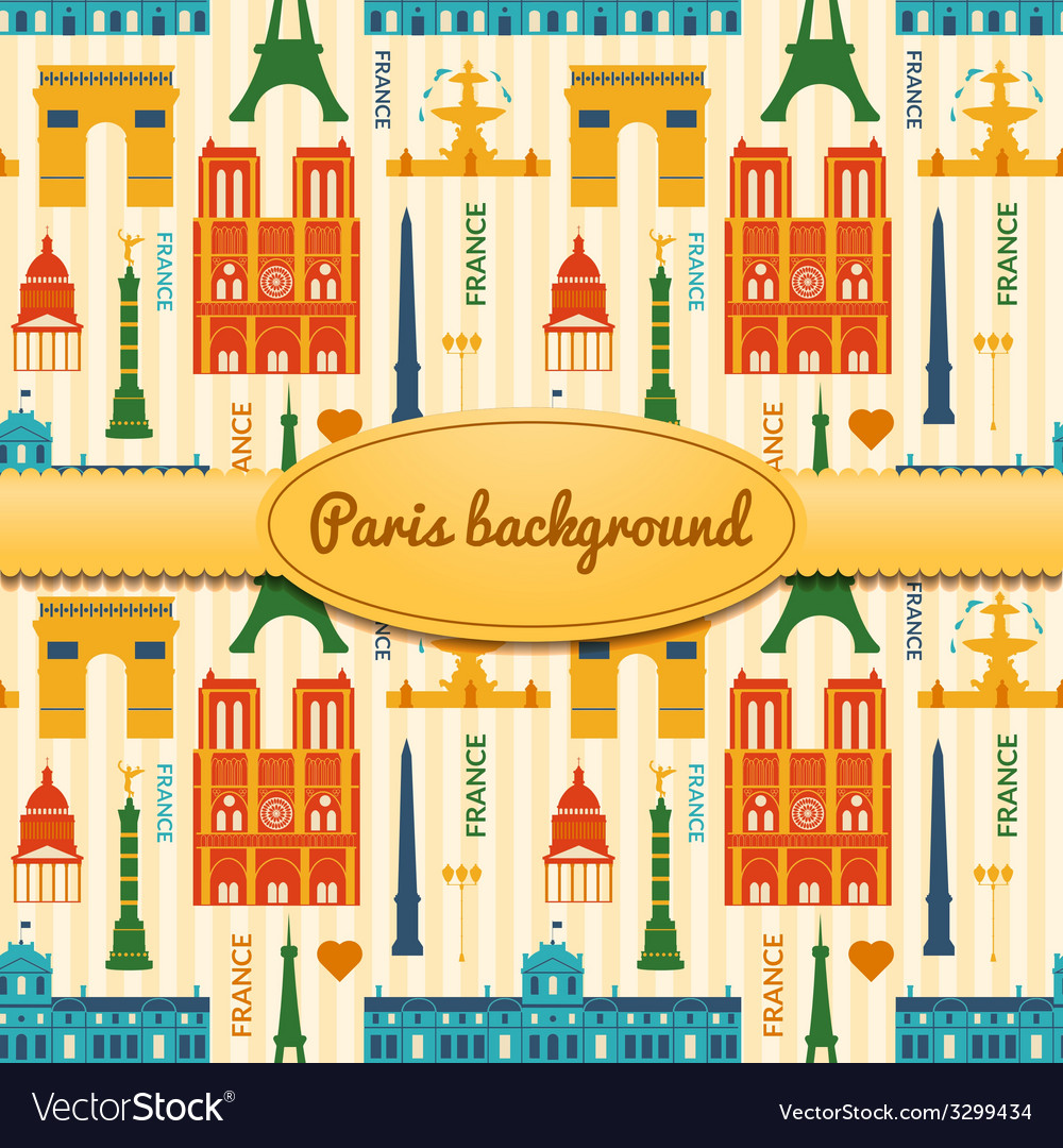 Landmarks of france colorful seamless pattern vector | Price: 1 Credit (USD $1)