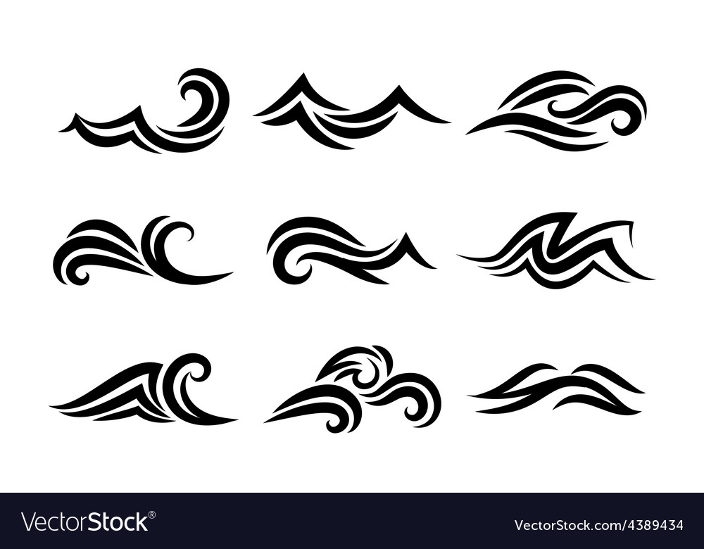 Ocean hand drawn waves isolated on white vector | Price: 1 Credit (USD $1)