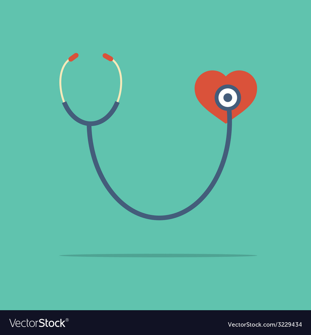 Stethoscope heart checking vector | Price: 1 Credit (USD $1)