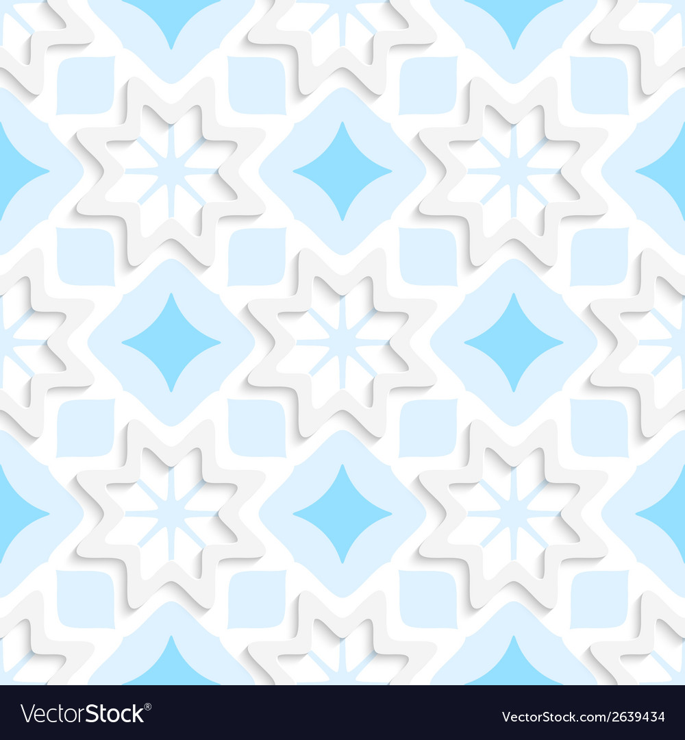 White snowflakes on flat blue ornament seamless vector | Price: 1 Credit (USD $1)
