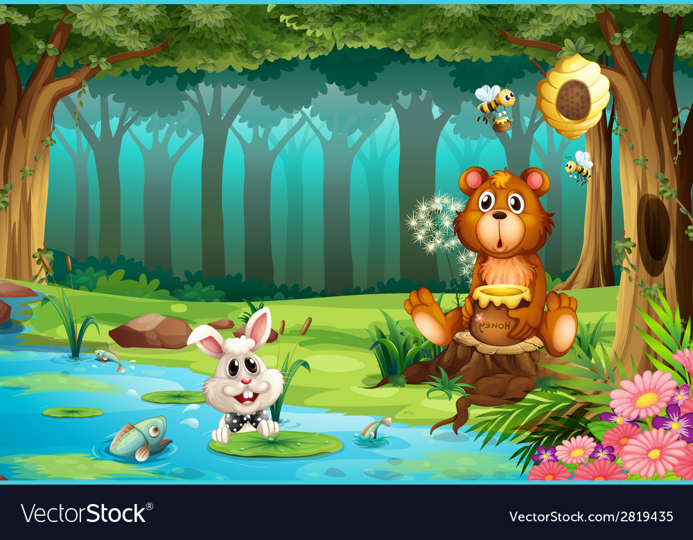 Bear in jungle vector | Price: 3 Credit (USD $3)