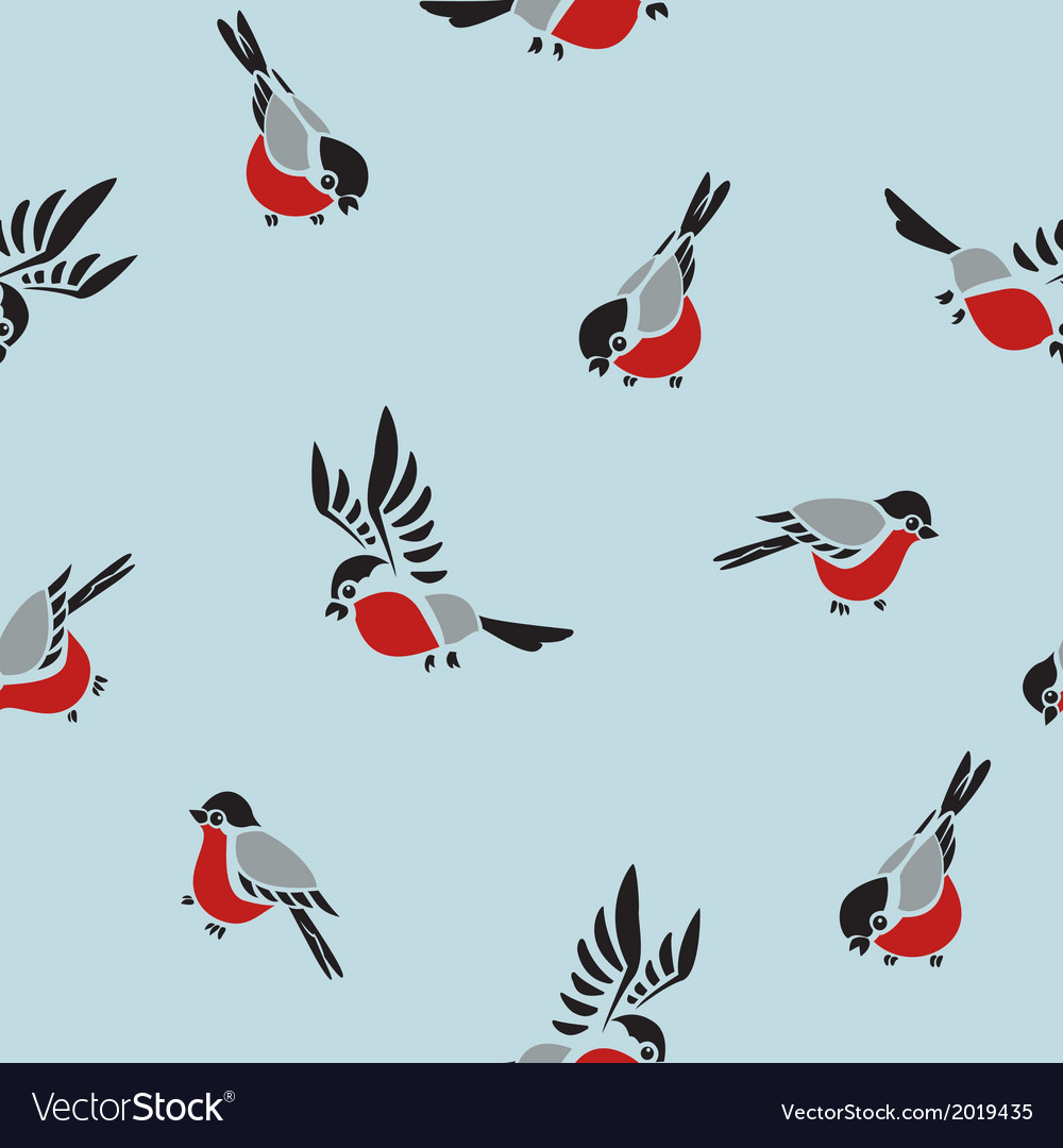 Bullfinches seamless pattern vector | Price: 1 Credit (USD $1)