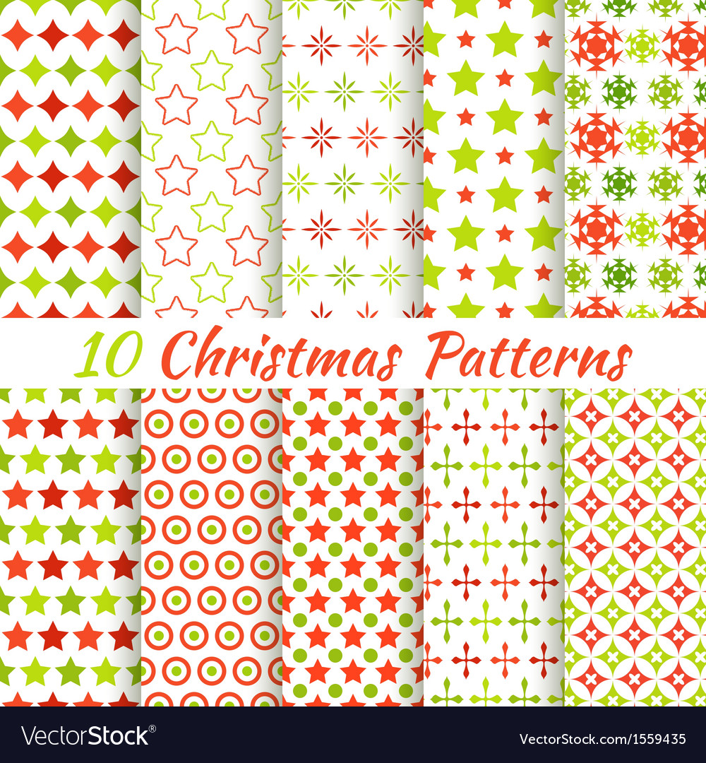 Christmas different seamless patterns tiling vector | Price: 1 Credit (USD $1)