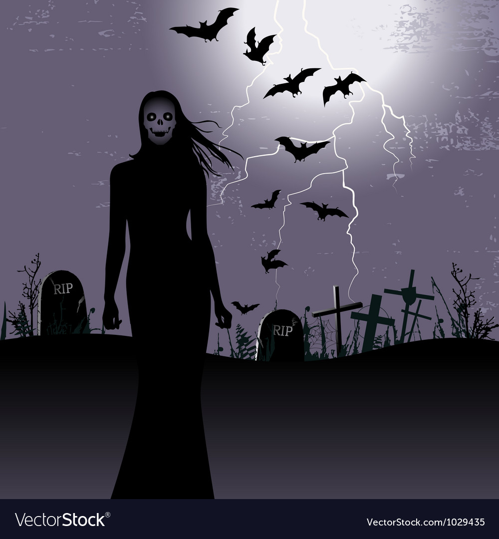 Halloween background with woman ghost vector | Price: 1 Credit (USD $1)