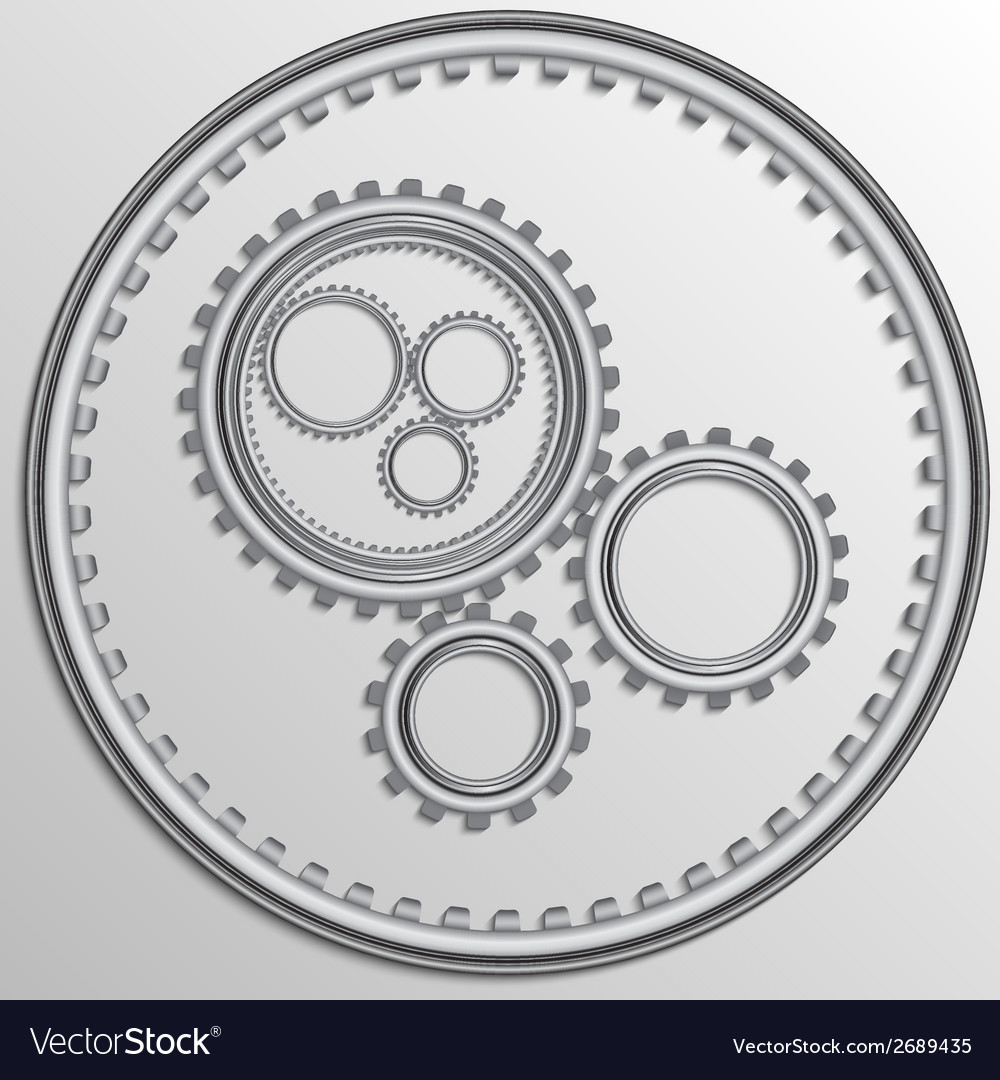 Metallic chrome gear wheels vector | Price: 1 Credit (USD $1)