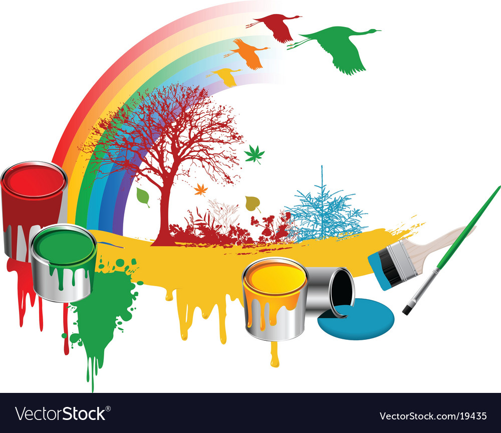 Paint rainbow design vector | Price: 1 Credit (USD $1)
