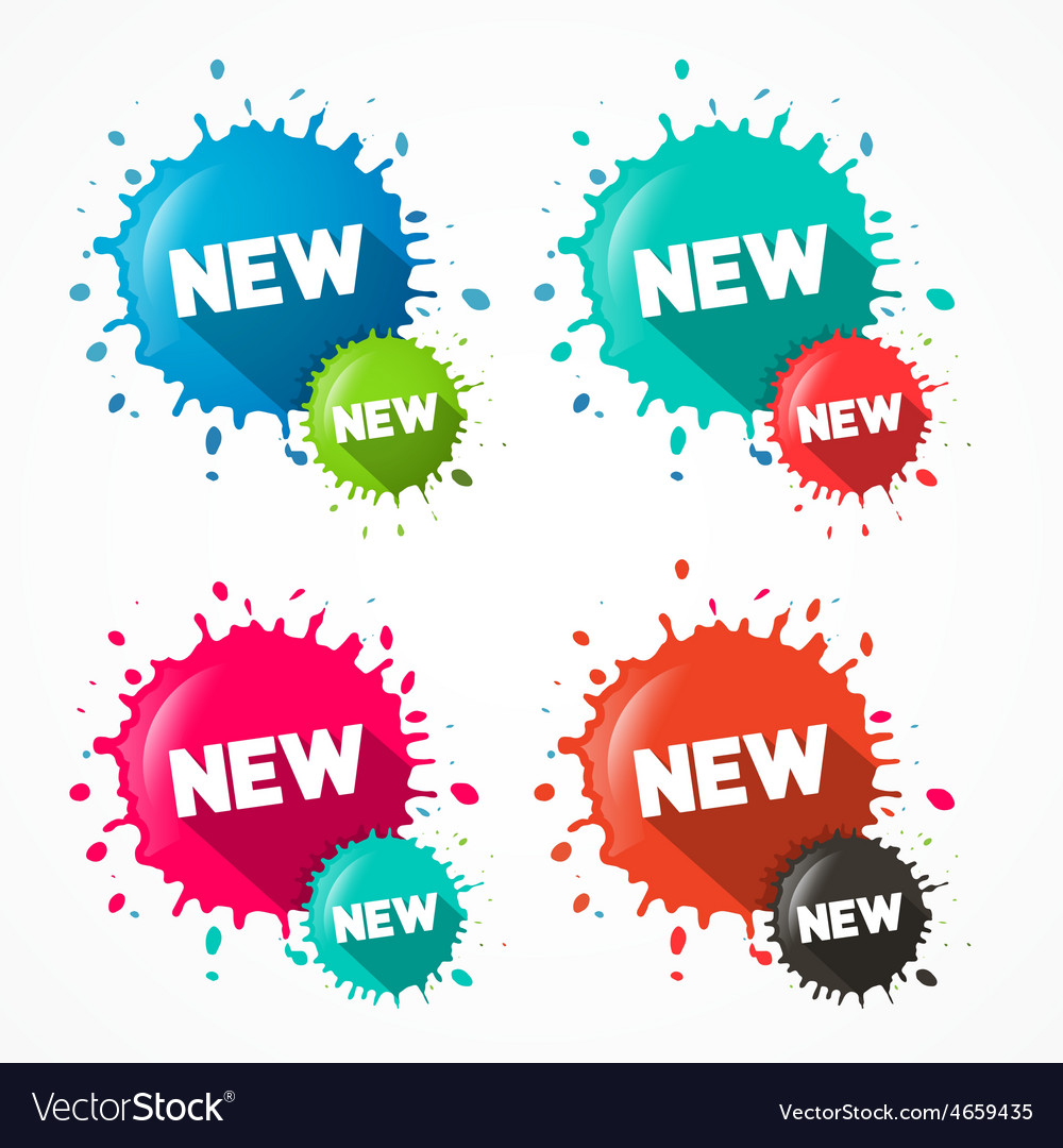 Splashes - blots - stains with new title isolated vector | Price: 1 Credit (USD $1)