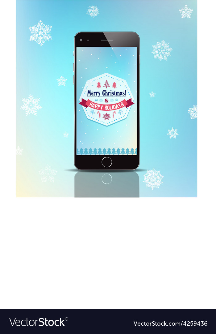Christmas gift phone poster card with vector | Price: 1 Credit (USD $1)