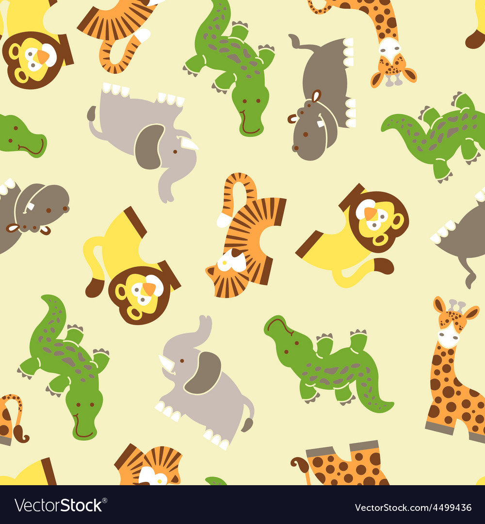 Cute wild animals seamless pattern vector | Price: 1 Credit (USD $1)