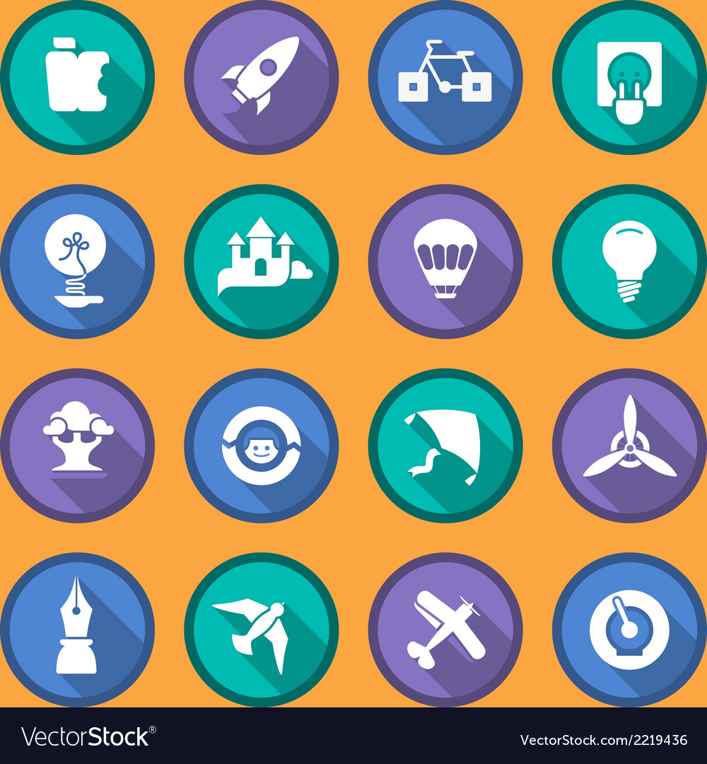 Flat icons of creativity and imagination vector | Price: 1 Credit (USD $1)