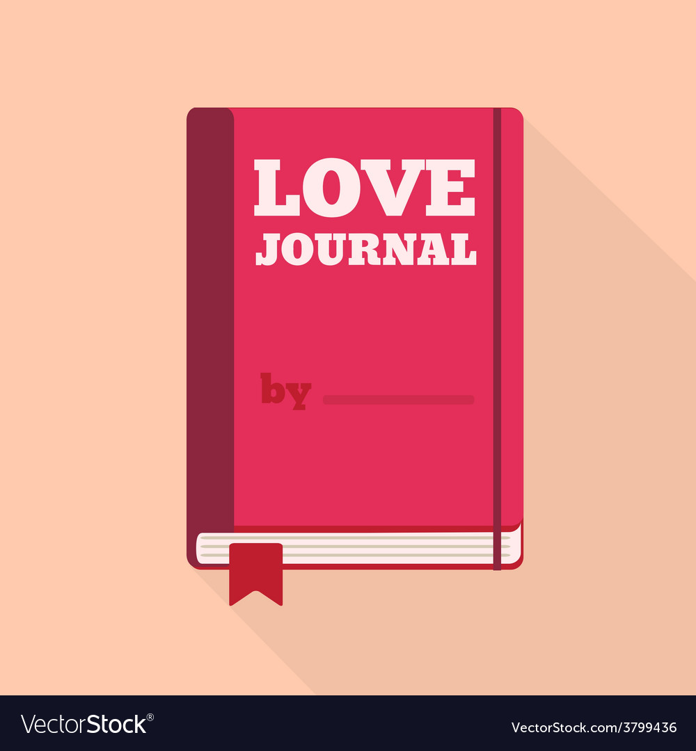 Flat style icon with long shadow a love journal vector | Price: 1 Credit (USD $1)