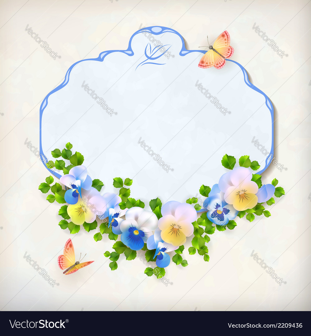 Floral vintage pansy flower card vector | Price: 1 Credit (USD $1)