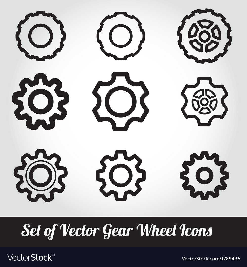 Gear wheels icons set vector | Price: 1 Credit (USD $1)