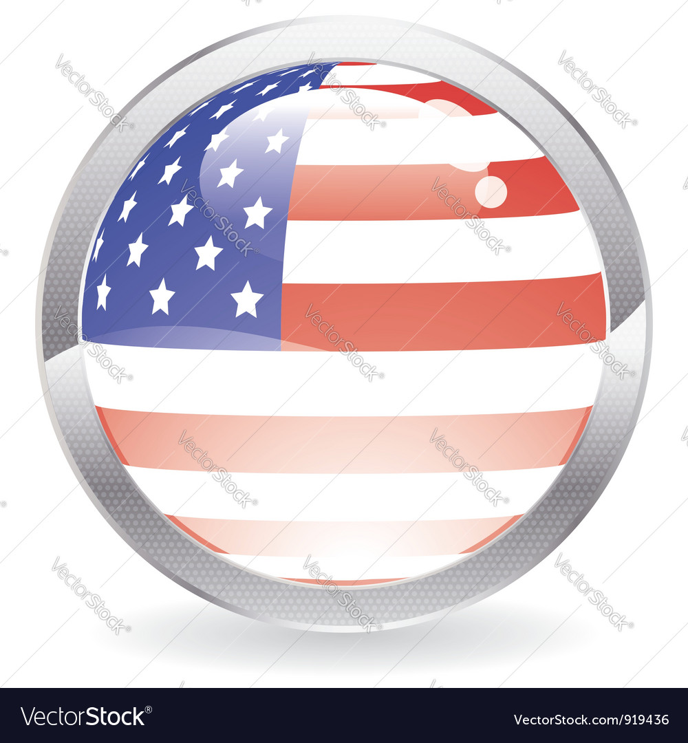 Gloss button with american flag vector | Price: 1 Credit (USD $1)