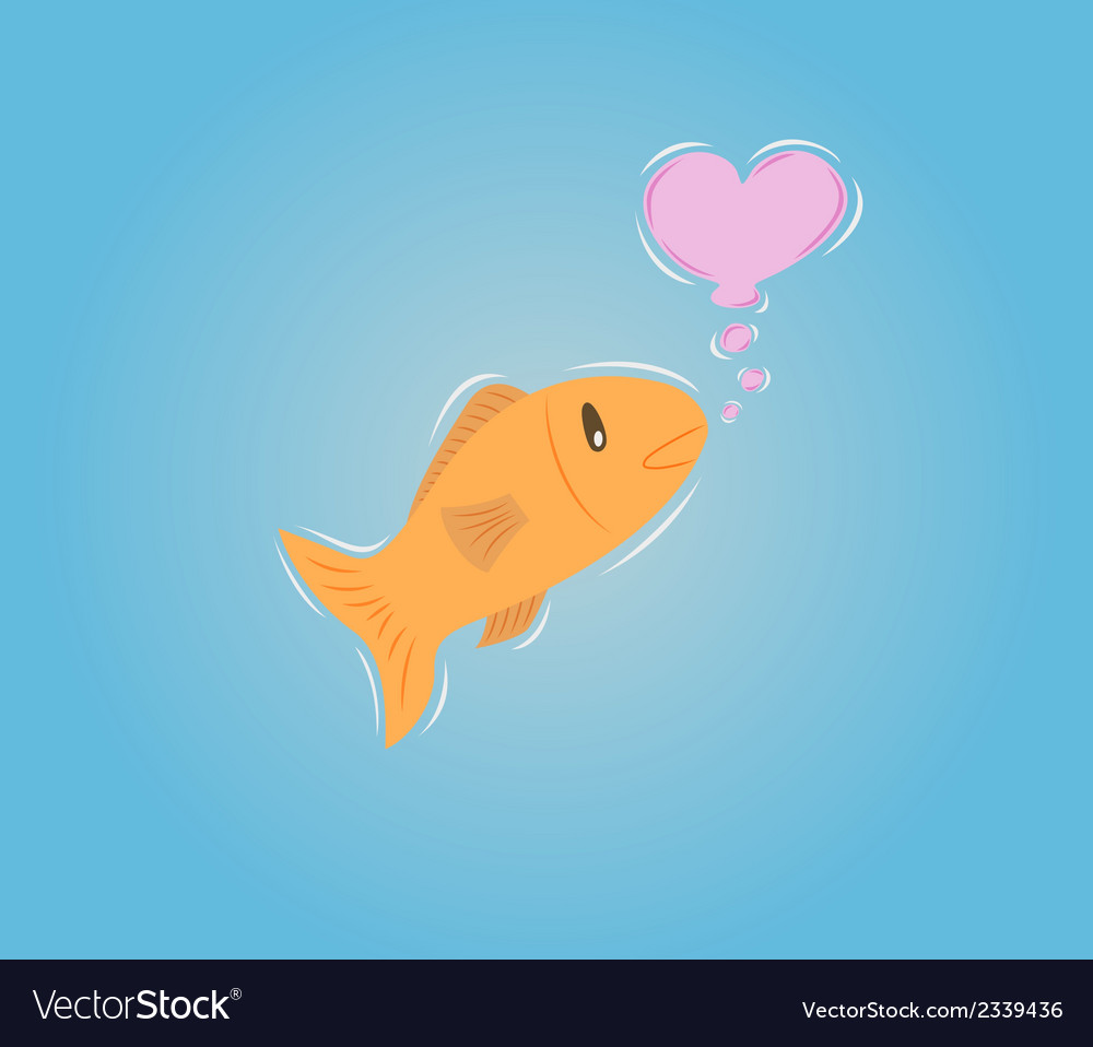 Goldenfish with bubble heart vector | Price: 1 Credit (USD $1)