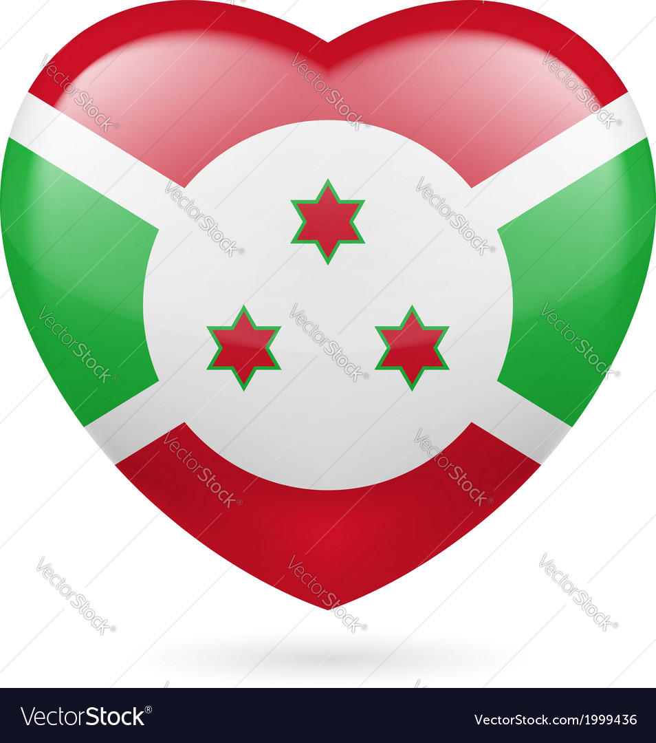 Heart icon of burundi vector | Price: 1 Credit (USD $1)