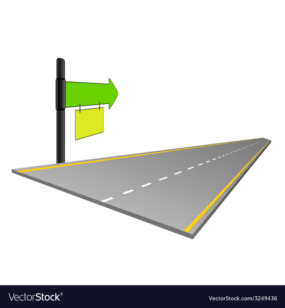 Road with signboard color vector | Price: 1 Credit (USD $1)