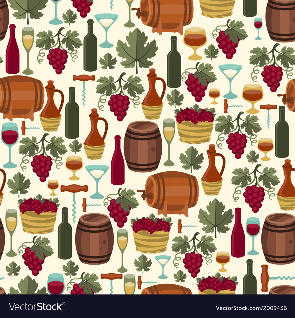 Seamless pattern for wine wineries and restaurants vector | Price: 1 Credit (USD $1)