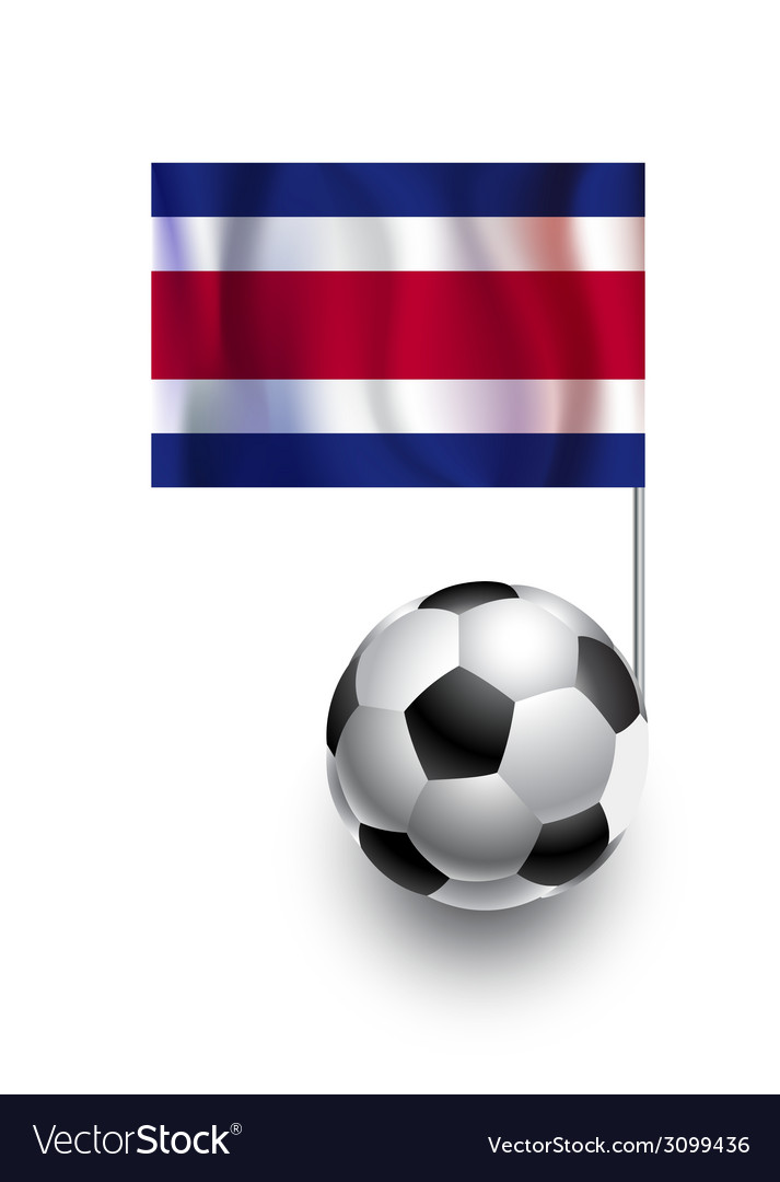 Soccer balls or footballs with flag of costa rica vector | Price: 1 Credit (USD $1)