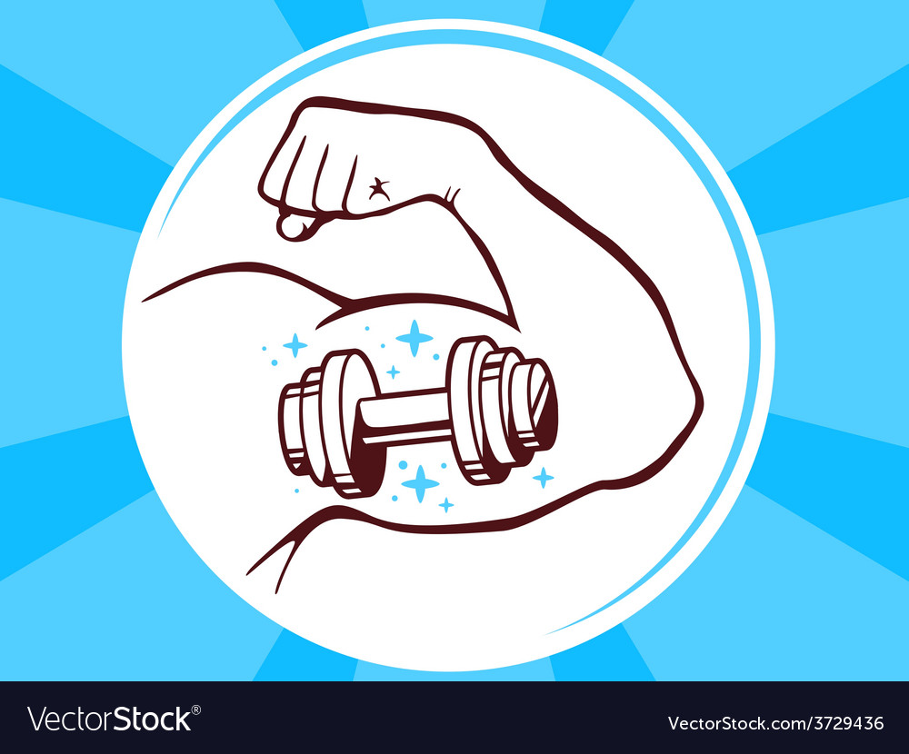 Strong man hand with icon of dumbbell on vector | Price: 1 Credit (USD $1)