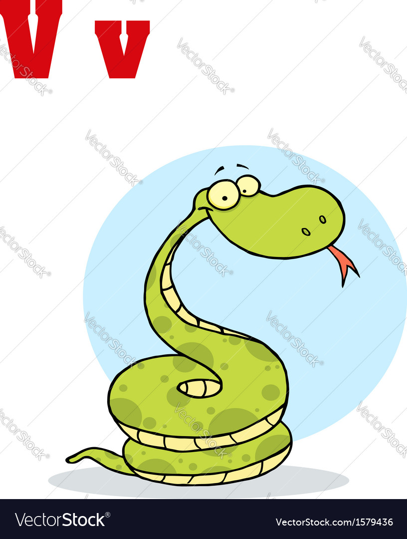 Viper cartoon with letter vector | Price: 1 Credit (USD $1)