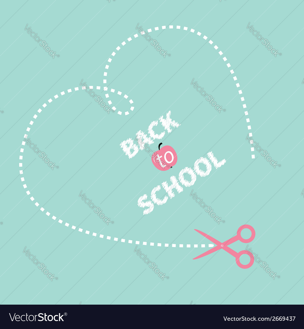 Big dash heart on the blue scissors back to school vector | Price: 1 Credit (USD $1)