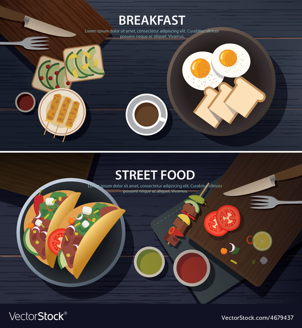 Breakfast and street food banner vector | Price: 1 Credit (USD $1)