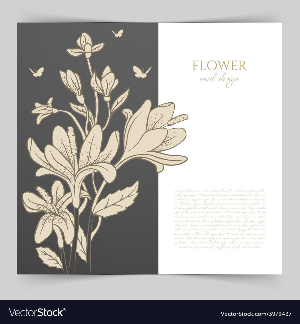 Card template with floral vector | Price: 1 Credit (USD $1)
