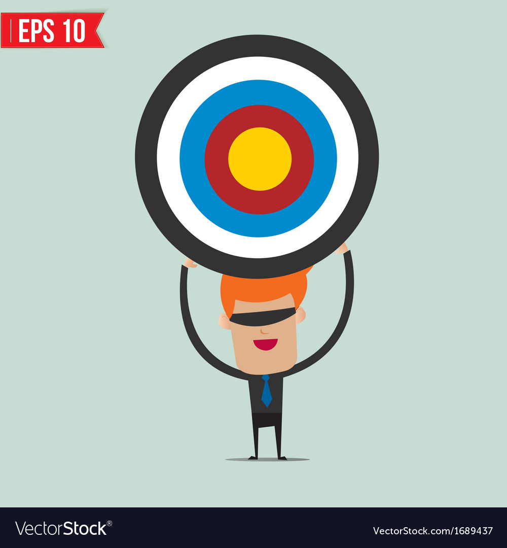 Cartoon business man with the target - - ep vector | Price: 1 Credit (USD $1)