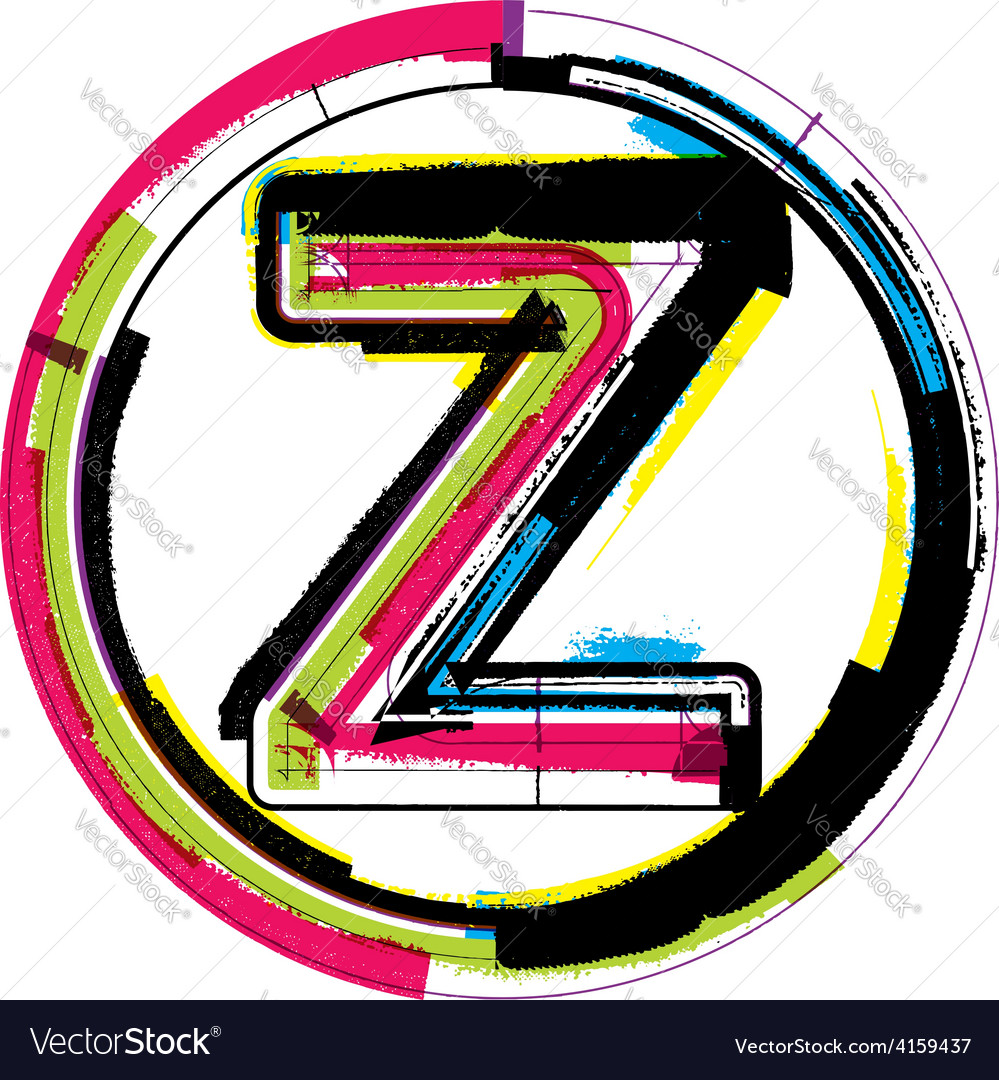 Colorful grunge font letter z vector   Price: 1 Credit (USD $1)